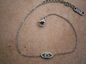 【送料無料】ブレスレット アクセサリ— hi quality greek evil eye stainless steelcrossheart bracelet bluehi quality greek evil eye stainless steel silver cross or
