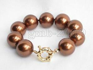 【送料無料】ブレスレット アクセサリ? ラウンドコーヒーブラウンサウスシーシェルパールブレスレットround 14mm cee brown south sea shell pearl bracelet 75