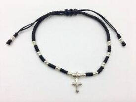 【送料無料】ブレスレット アクセサリ— スターリングシルバークロスコードマクラメブレスレット925 sterling silver cross cotton cord macrame friendship bracelet handcrafted