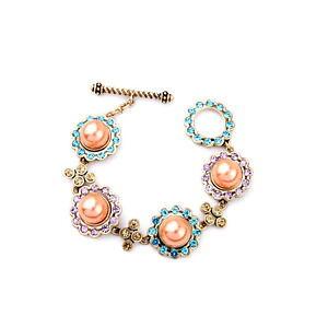 【送料無料】ブレスレット アクセサリ? スマートjcrewオレンジパールラインストーンブレスレット stylish j crew orange pearl purple blue gold rhinestone bracelet
