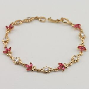 【送料無料】ブレスレット アクセサリ? ルビーファッションジュエリーゴールドブレスレットl984 beautiful red ruby fashion jewelry gift gold filled bracelet br088