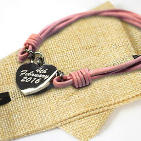 【送料無料】ブレスレット アクセサリ— パーソナライズレディススチールハートピンクブレスレットバッグpersonalised ladies steel heart pink bracelet birthday free engraving amp; gift bag