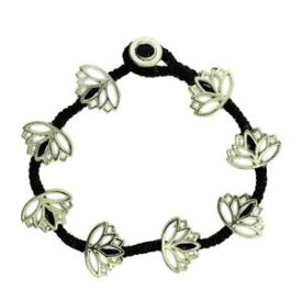 【送料無料】ブレスレット アクセサリ— デザインビーズブレスレットワックスリネンlotus flower design beaded silver alloy bracelet wrist jewelry waxed linen