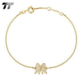 【送料無料】ブレスレット アクセサリ— kゴールドボックスチェーンバタフライブレスレットtt 18k gold filled box chain cute butterfly bracelet cbf28j