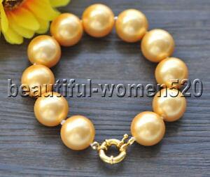 【送料無料】ブレスレット アクセサリ? ビッグサウスシーシェルパールブレスレットインチz9347 big 18mm round golden south sea shell pearl bracelet 8inch