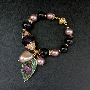【送料無料】ブレスレット アクセサリ? シーシェルパールアメジストパールブレスレットペンダント8 purple sea shell pearl amethyst keshi pearl bracelet cz pave bee pendant