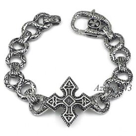 【送料無料】ブレスレット アクセサリ— 316ポンドステンレスリンクブレスレット89シルバークロ235cmmens silver cross 316l stainless steel link bracelet 89 inch 235cm
