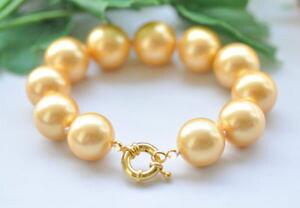 【送料無料】ブレスレット アクセサリ? ビッグサウスシーシェルパールブレスレットp7192 8 big 18mm round golden south sea shell pearl bracelet