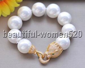 【送料無料】ブレスレット アクセサリ? ホワイトサウスシーシェルパールブレスレットクーガーインチz8662 20mm white south sea shell pearl bracelet cougar cz 8inch