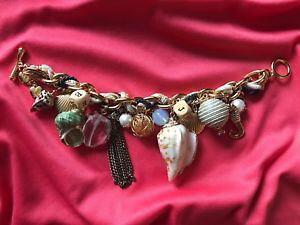 【送料無料】ブレスレット アクセサリ? ジョンソンヴィンテージシーシェルシーホースブレスレットbetsey johnson vintage huge nautical real sea shell seahorse charm bracelet rare