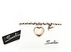 【送料無料】イタリアン ブレスレット トスカーナベージュアートドンカフsodini bracciale elastico di perle con charm a cuore beige art 730225d don