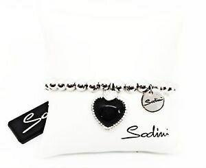 【送料無料】イタリアン ブレスレット トスカーナハートアートゴムカフsodini bracciale elastico di perle con charm a cuore nero art 730225p donn