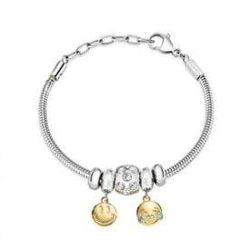 【送料無料】イタリアン ブレスレット カフスチールゴールドゴールデンスマイルbracciale donna morellato drops scz900 acciaio charms gold smile dorato nuovo