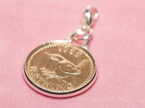 【送料無料】イタリアン ブレスレット コインブレスレットペンダントプレゼントハングアップ1953 65th compleanno farthing coin braccialetto ciondolo pronto da appendere 1953 regalo di compl