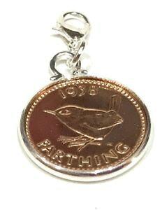 【送料無料】イタリアン ブレスレット コインブレスレットペンダントプレゼントハングアップ1938 80th compleanno farthing coin braccialetto ciondolo pronto da appendere 1938 regalo di compl