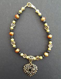 【送料無料】イタリアン ブレスレット ハートビーズブレスレットfiligrana cuore e fiore gold plated perline bracciale con charm