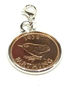 【送料無料】イタリアン ブレスレット コインペンダントブレスレット1938 77th compleanno moneta farthing braccialetto con ciondolo pronto da
