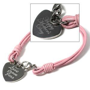 【送料無料】イタリアン ブレスレット ピンクハートカフパーソナライズpersonalizzato regalo festa della mamma in pelle rosa cuore inciso bracciale