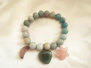 【送料無料】イタリアン ブレスレット ブレスレットスターストレッチムーンハートverde amazzonite gemstone stretch bracciale stella luna cuore charms