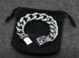 【送料無料】メンズブレスレット custom 925sterlingcross chain link biker curbheavy high end braceletcustom 925 sterling silver cross chain link biker curb