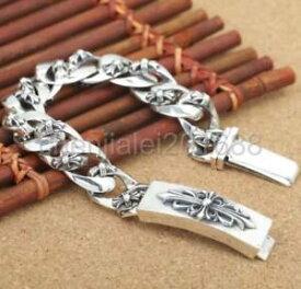 【送料無料】メンズブレスレット 925 スターリングクロチェーンmensブレスレット925 sterling silver cross flower chain mens biker punk bracelet