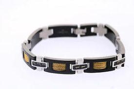 【送料無料】メンズブレスレット シャキールオニールステンレスカーボンファイバーイエローケーブルブレスレットshaquille oneal 11mm stainless tritone carbon fiber yellow ip cable bracelet