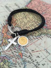 【送料無料】メンズブレスレット 9ct925クロスstクリストファー 9ct gold plated st christopher with 925 silver cross personalised gift