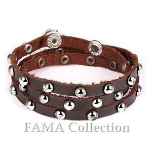 【送料無料】メンズブレスレット ファマブラウンレザーブレスレットステンレススチールスタッドボルトラップquality fama brown leather wrap bracelet lined with stainless steel studs