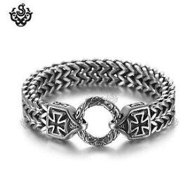 【送料無料】メンズブレスレット シルバークロスブレスレットステンレススチールダブルチェーンソフトゴシックsilver cross bracelet stainless steel double chain soft gothic