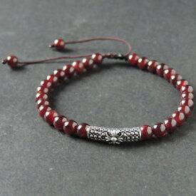 【送料無料】メンズブレスレット ブレスレットガーネットスターリングシルバークロスメートルmens braided bracelet 55mm garnet 925 sterling silver cross charm 995m