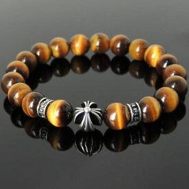 【送料無料】メンズブレスレット メンズブラウンタイガーアイブレスレットスターリングシルバークロスビーズスペーサーmens 10mm brown tiger eye bracelet 925 sterling silver cross bead spacers 1095m