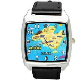 【送料無料】腕時計 マヨルカスペインサンシーマップアイスランドレザースクエアブラックウォッチ