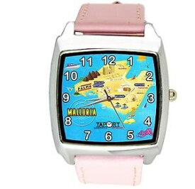 【送料無料】腕時計 マヨルカスペインサンシーマップアイスランドレザースクエアピンクウォッチmallorca spain holiday travel gift sun sea map island leather square pink watch