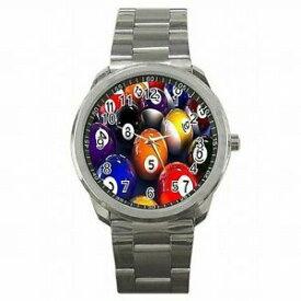 【送料無料】腕時計 プールボールビリヤードプレーヤーステンレススチールウォッチpool balls billards table player stainless steel watch