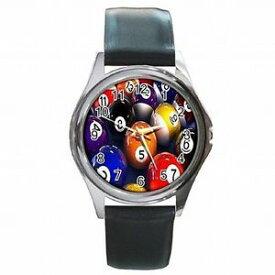 【送料無料】腕時計 プールボールビリヤードプレーヤーpool balls billards table player leather watch