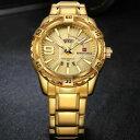 【送料無料】腕時計 ステンレススチールメンズゴールド46mm naviforce mens gold watches man male stainless steel …