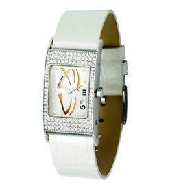 【送料無料】腕時計 パリブレスレットブランmoog paris montre femme avec cadran argent, bracelet blanc en cuir vritable