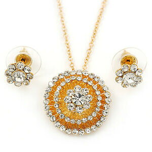 【送料無料】アクセサリー ネックレスラウンドオーストリアトーンスタッドボルトゴールドチェーンクリアガラスペンダントclaro austraco cristal redondo colgante con cadena de oro de tono y earrin floral s