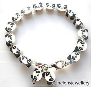 【送料無料】アクセサリー ネックレスボックススワロフスキーパンダブレスレットhecho a mano hermoso panda pulsera con swarovski en hermosa cajalibre de envo