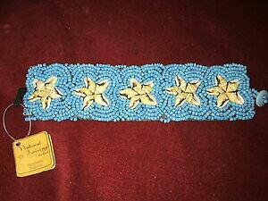 【送料無料】アクセサリー ネックレスターコイズブレスレットシーシェルinusual atractivos colores turquesa con cuentas pulsera, decoracin de estrellas de concha de mar