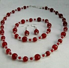 【送料無料】アクセサリー ネックレスルビーレッドネックレスhermoso rojo rub y natural cristal cuarzo collar conjunto