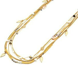 【送料無料】アクセサリー ネックレスオスタルセントロヒストリコレジーナcl2221d sautoir collier multirangs perles brillantes cordons moutarde avec