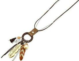 【送料無料】アクセサリー ネックレスコリアオスタルセントロヒストリコレジーナモードブラウンcl817f * sautoir collier cordons et cercle charms plumes ethnique mode marron
