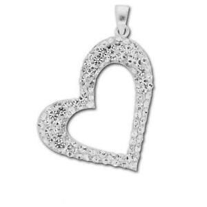 【送料無料】アクセサリー ネックレス スターリングシルバーハートペンダントtoc argento sterling e brillantini luminosi forma ciondolo a cuore su 45,7 cm