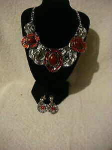 【送料無料】アクセサリー ネックレス ファッションネックレスリングシルバーセットmoda collana collare e orecchio anello set argento in metallo con cristalli rosso
