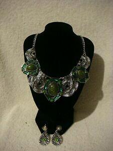 【送料無料】アクセサリー ネックレス ファッションネックレスリングシルバーセットmoda collana collare e orecchio anello set argento in metallo con cristalli verde