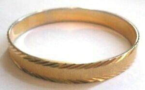 【送料無料】アクセサリー ネックレス bracelet rigide couleur or decor grav relief sign monet bijou vintage * 4427
