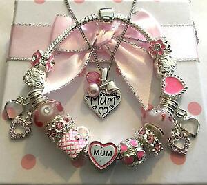 【送料無料】アクセサリー ネックレス ネックレスブレスレットピンクペンダントda donna speciale mum argento rosa ciondolo a cuore collana braccialetto set