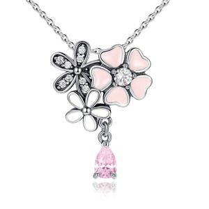【送料無料】アクセサリー ネックレス ペンダントネックレスハートピンクスターリングシルバーciondolo collana cuore rosa fiore di ciliegio fiore donna argento sterling 925