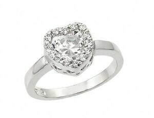 【送料無料】アクセサリー ネックレス スターリングシルバーハートリングbg00914 argento sterling 925 da donna a cuore per anello sz 59w